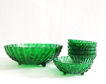 Anchor Hocking Green Glass Burple 7 Piece Berry Bowl Set