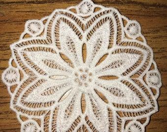 Embroidered Floating Lace Doily