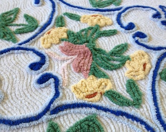 """Plush Vintage Chenille Floral with Pink, Yellow, Green and Two-tone Blue on White Bedspread Fabric...33 x 35"""""""