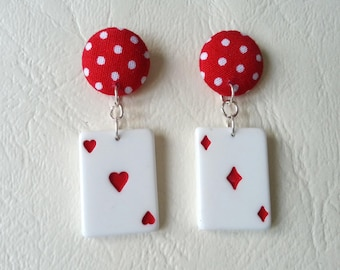 These earrings playing cards poker and Red polka dot ♥ ♥