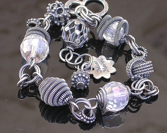 Sterling silver and Crystal wire wrapped coiled Bracelet