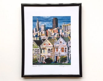 Painted Ladies San Francisco Painting framed, 8x10 black metallic look frame, from painting by Gwen Meyerson