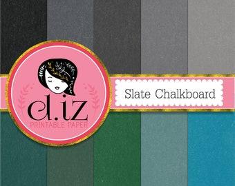 Chalkboard digital paper, chalkboard backgrounds. black, blue, green, grey chalkboard scrapbook paper x 10