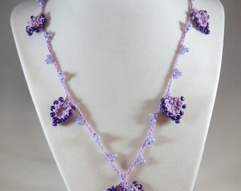 Lavender and purple bead crochet necklace