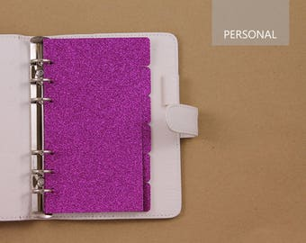 Filofax Personal dividers, planner dividers set, fucsia dividers for 6 ring planner