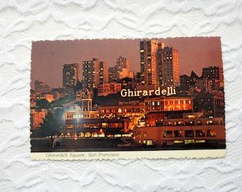 Ghirardelli Square San Francisco Postcard, Night Postcard, Ghirardelli Square Postcard California Postcard