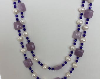 Amethyst and freshwater pearls.