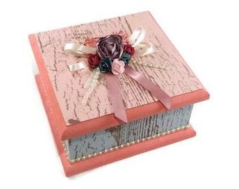 Shabby Chic Keepsake Box, Trinket Box, Treasure Box, Jewellery Box, Memory Box, Wooden Box