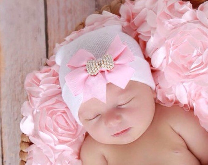 Pink Rose Layering Fabric AND/OR White Newborn Hospital Hat w/ Pink Grosgrain Bow, Pink Rose Blanket, baby hat, Lil Miss Sweet Pea Boutique