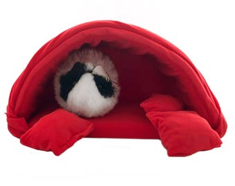 Red guinea pig bed, guinea pig hideout