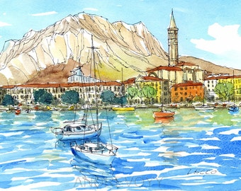 Lecco Lake Como  Italy art print from an original watercolor painting