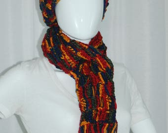 Crochet Multi Colored Scarf, in Orange, Red, Green and Blue.