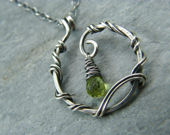 Peridot necklace ~ Gift for August birthday ~ Sterling silver ~ Peridot silver necklace ~ August birthday necklace ~ Birthstone jewellery ~