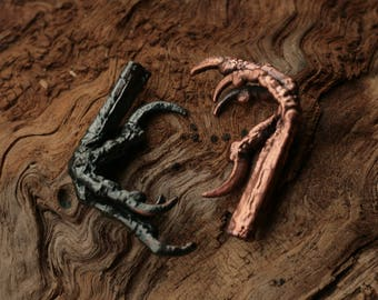 Bird claws pendants, copper electroformed real legs, metal paws, Halloween witches, electroforming, magic amulet, pagan dark elves jewellery