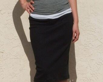 Everyday Pencil Skirt, Black Skirt, Knee Length, Midi Skirt, Fitted Skirt, Knit Jersey, Pull On Skirt, Work Skirt, Plus Size Skirt