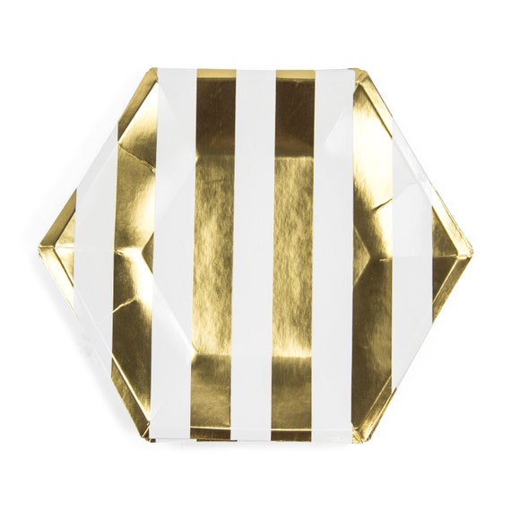 8pc I Do Crew Dinner Plate, Gold Foil Party Decor, Gold Birthday Plate, Striped Plate, Gold Table Setting, Gold Centerpiece Gold Wedding