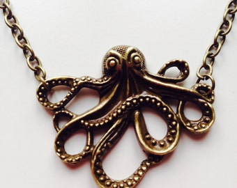 Sale | Octopus | Squid | Cut Out | Nautical | Navy | Tentacles | Necklace