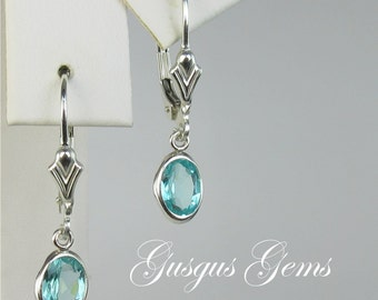 Apatite Sterling Silver Leverbacks 7x5mm 1.70ctw