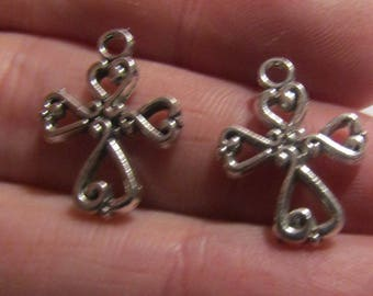 2 charms silver color cross 19mmx14mm