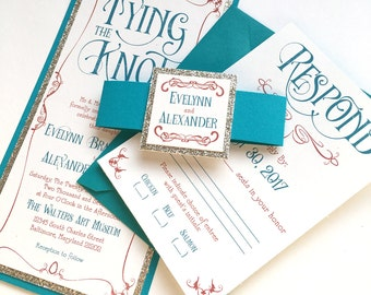 Art Nouveau Wedding Invitations in Teal, Persimmon, and Champagne