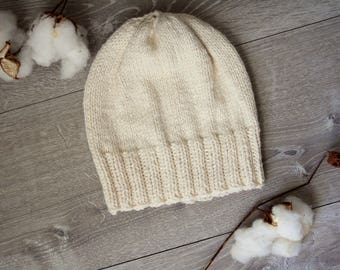 Men's or Women's Ivory Denim Knitted Beanie