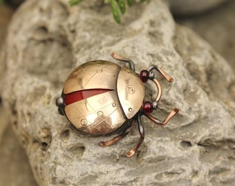 Beetle brooch Bug Entomology Holiday gift for her Unique brooch Insect brooch Small nice gifts Insect jewelry Copper jewelry Red brooch