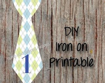 First Birthday Shirt Argyle Tie INSTANT DOWNLOAD Printable Boy 1st Birthday Iron On Tie Decal Toddler Baby Boy Tie Digital Birthday Shirt