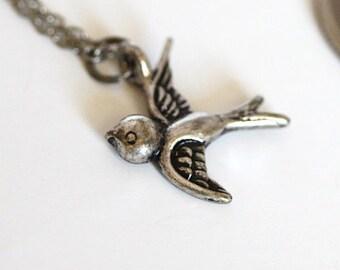 Silver Cute Bird Necklace