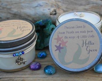 Set of 24 Mermaid Baby Shower Candles - Custom Soy Candles - Mermaid Theme - Its a Girl - Baby Mermaid - Custom Gifts - Mermaid Decor