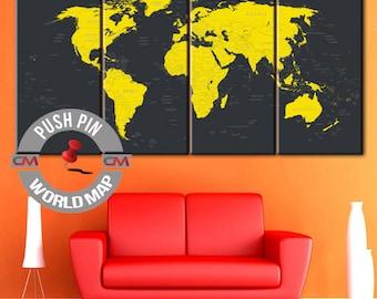 Travel Map, World Map, World Map Canvas, Wall Art Travel Map, large canvas, wall decor paintings, Push pin travel map, world map push pin