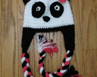 Crochet Pink Panda Hat