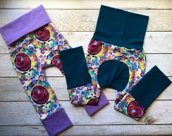 Unisex Grow With Me Pants, Grateful Dead, Classic Rock, Baby pants, Baby going home pants, Baby classic rock clothes, Cool baby