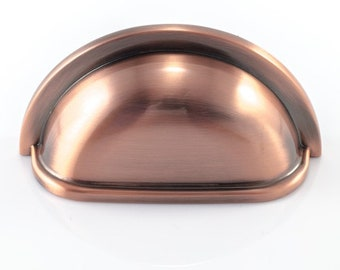 Brushed Copper Drawer Cabinet Cup Handle, 76mm Fixing Centres, Cupboard Door Knob or Dresser Drawer Pull