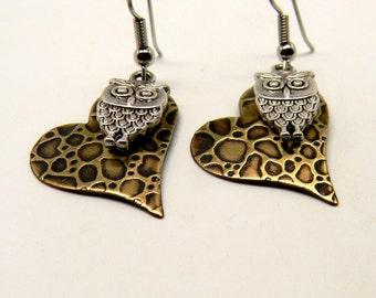 Steampunk mixed metal jewelry earrings.