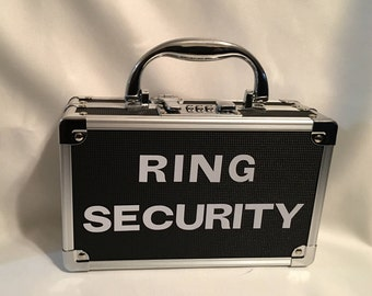 RING SECURITY Case with Keyless Combination Lock, for Wedding, Briefcase, Bling Security, Ring Bearer Box, Secret Agent - Black or Blue