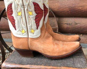 Vintage STALLION Cowgirl Boots. Excellent Used Condition! RARE Suede Butterflies * Billy Martin * Western Cowboy Ranch Texas