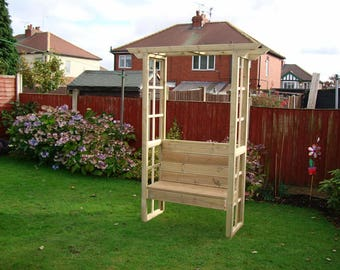 garden seat arch with a seat