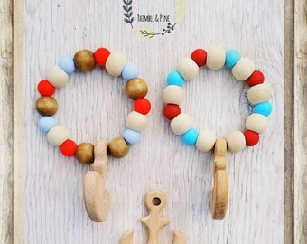Adorable all natural wood anchor and silicone bead baby teether!