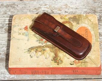 Vintage leather pen case, leather pen holder, brown leather pen case, handmade leather pen case, handmade pen holder, vintage pen holder