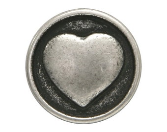 12 Small Heart 1/2 inch ( 13 mm ) Metal Buttons Silver Color