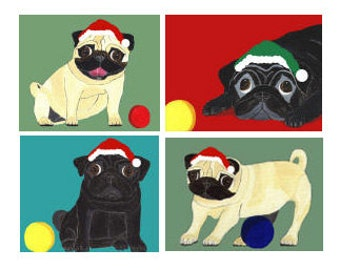 Holiday Pug Cards - Festive and Playful Black and Fawn Pugs