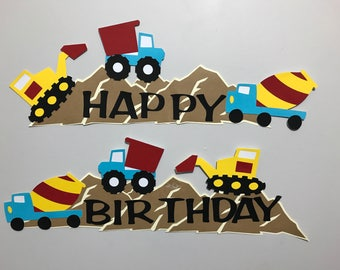 Construction and Tractors Birthday Party Banner