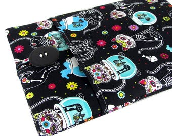 """Women's Laptop Sleeve 15.6"""" - Custom Sized To Your 15 Inch Laptop - Padded With Pocket, Day Of The Dead Cat Fabric"""