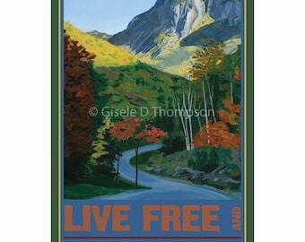Live Free and Explore NH Poster 8x12 print fall, Fall at Franconia Notch, NH