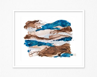 Abstract Art - Scandinavian Art - Minimal Painting - Indigo Blue  and Brown- Modern Wall Art - Minimal Art - Abstract Landscape Painting