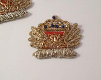 Metallic Gold Crown Shape Hand made Blazer Crest--One Piece