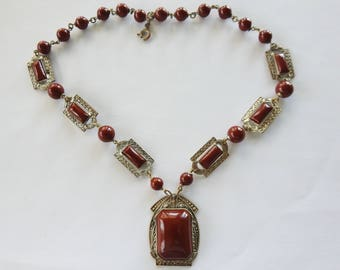 Antique Art Deco Egyptian Revival Silver Tone Glass Necklace