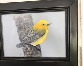 Bird painting in acrylics
