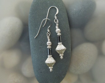 Sterling Silver Hogan with Hematite Earrings
