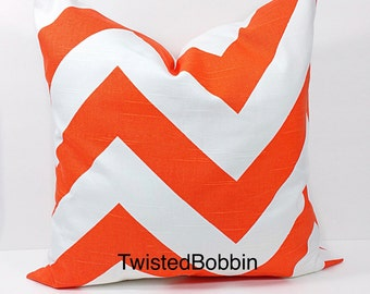 Pillow cover.Tangelo and white pillow cover.18x18. Zippy. Chevron.Designer pillow.orange cushion cover